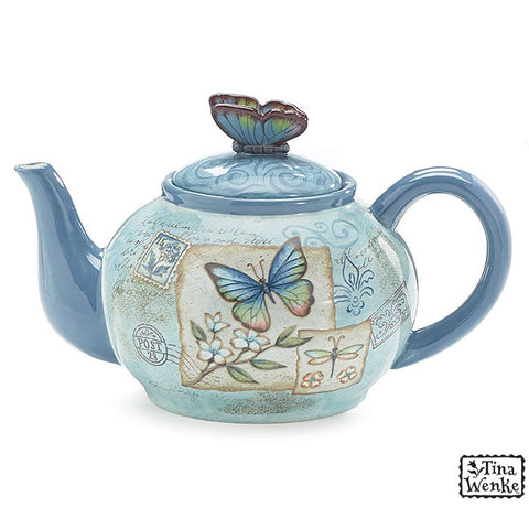 Butterfly Garden 40 Oz Teapot with Butterfly on Top Designed by Artist Tina Wenke - ArtsiHome