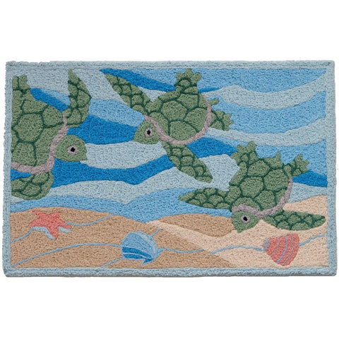 Jellybean Sea Turtle Beach Indoor Outdoor Rug - ArtsiHome