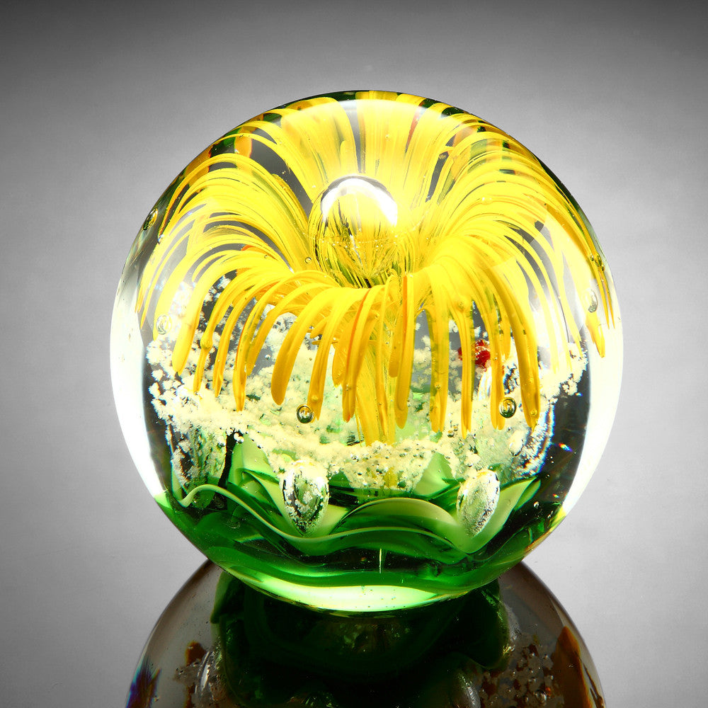 SPI Home Collection Yellow Flower Paperweight Glass Sphere 3.5