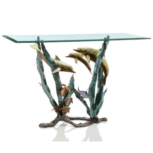 SPI Home Collection - Dolphin and Sea Life Console Table - ArtsiHome