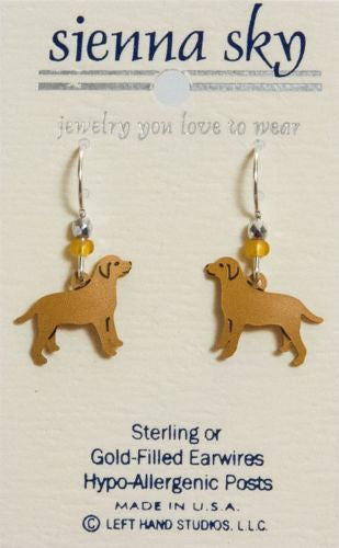 Sienna Sky Dangle Earrings Metal Golden Retriever Yellow Lab Dog - ArtsiHome