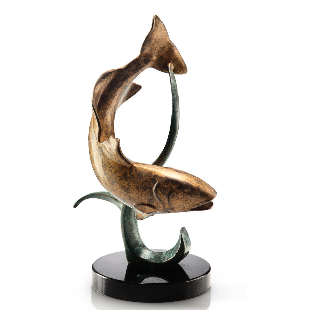 SPI Shallow Water Fighter Redfish Marble and Brass Sculpture - ArtsiHome
