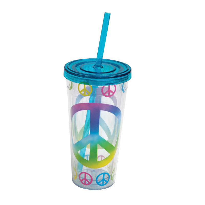 Peace Signs Small Insulated Cup w/ Straw (10 oz) - ArtsiHome