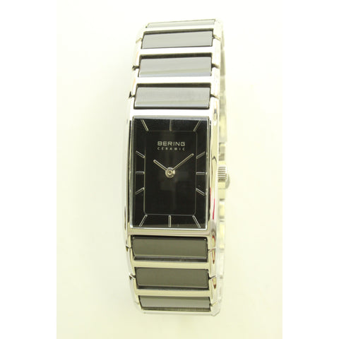Bering Ladies Ceramic Square Watch (Black and Silver) - ArtsiHome