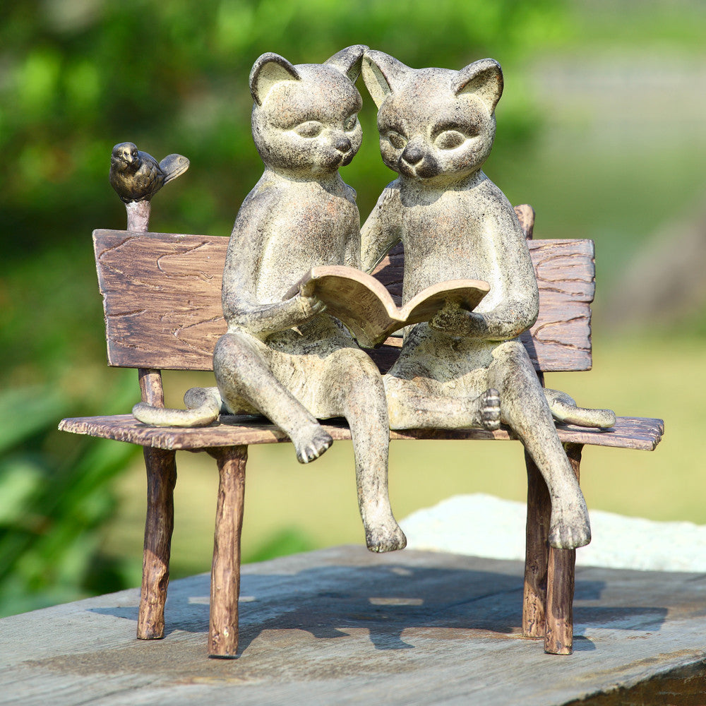 SPI Reading Cats on a Bench Aluminum Garden Sculpture - ArtsiHome