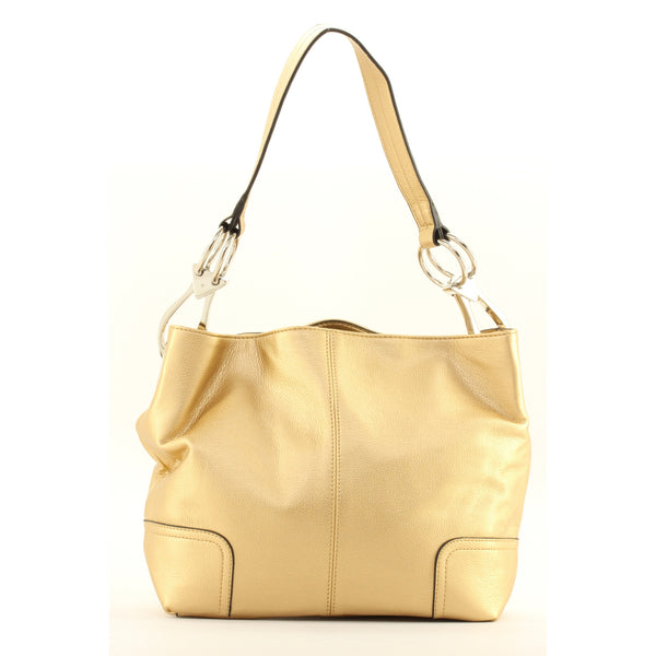 New Tosca Handbag, Purse Bucket Style Shoulder Bag Leather Look, 640 Color Gold - ArtsiHome