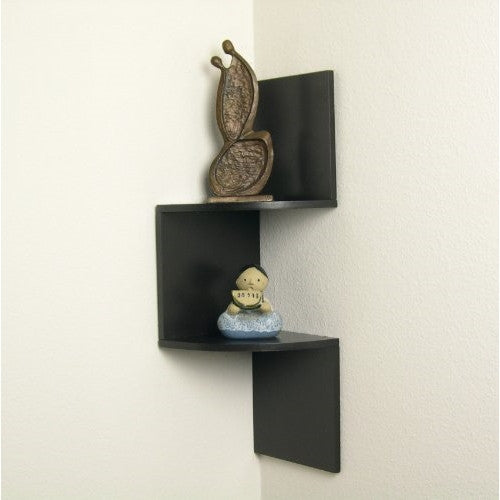 Laminated Corner Shelf in Walnut by Danya B. - ArtsiHome