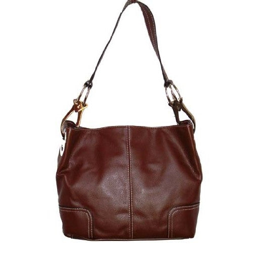 New Tosca Handbag, Purse Bucket Style Shoulder Bag Leather Look, 640 Color Brown - ArtsiHome