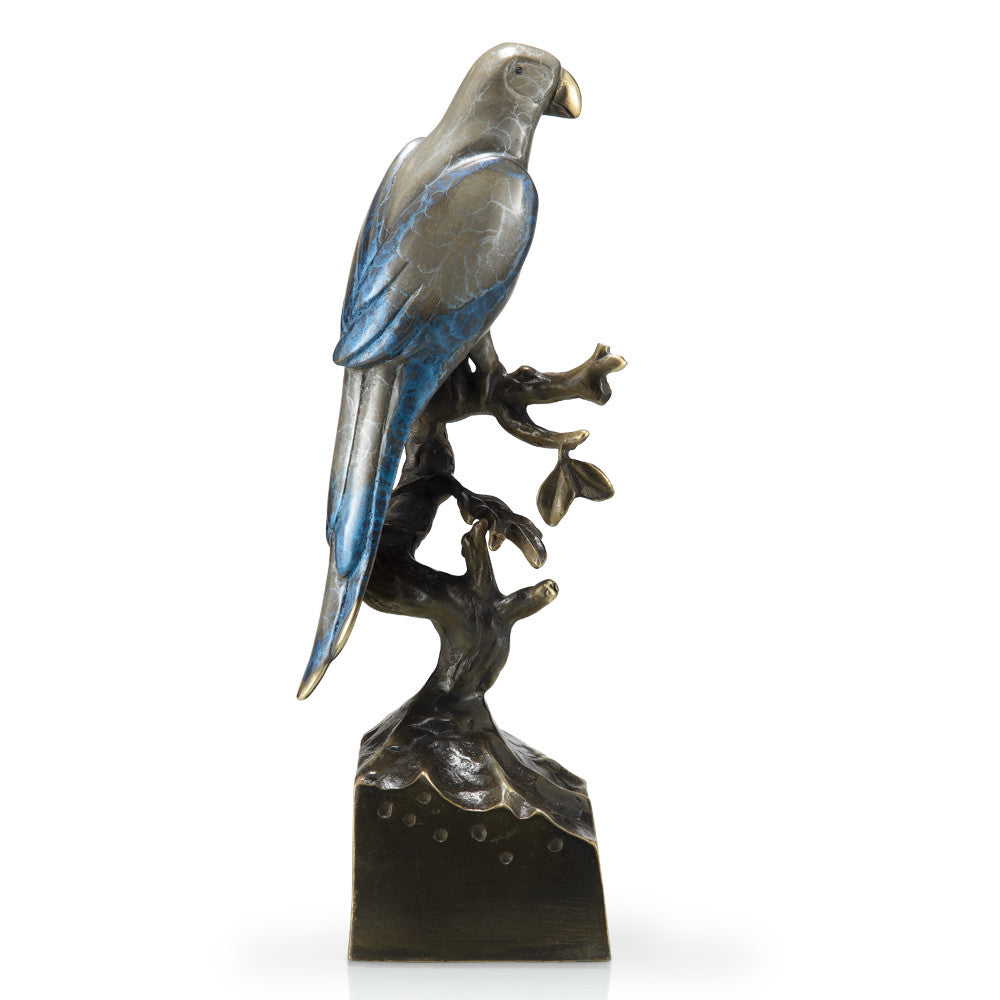 SPI Home Collection Lone Parrot on a Branch Sculpture - ArtsiHome