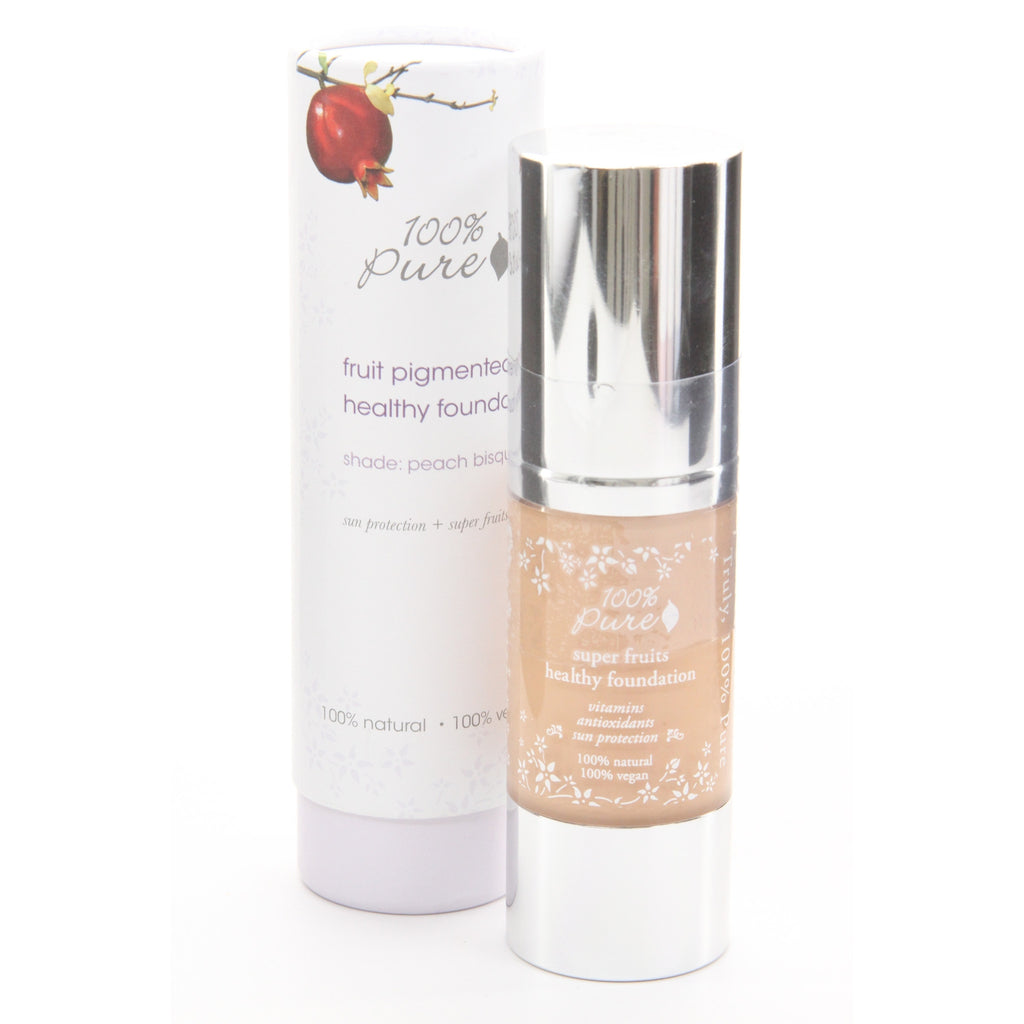 100% Pure Healthy Skin Foundation With Super Fruits(Full Coverage / Satin Finish) - Peach Bisque - ArtsiHome