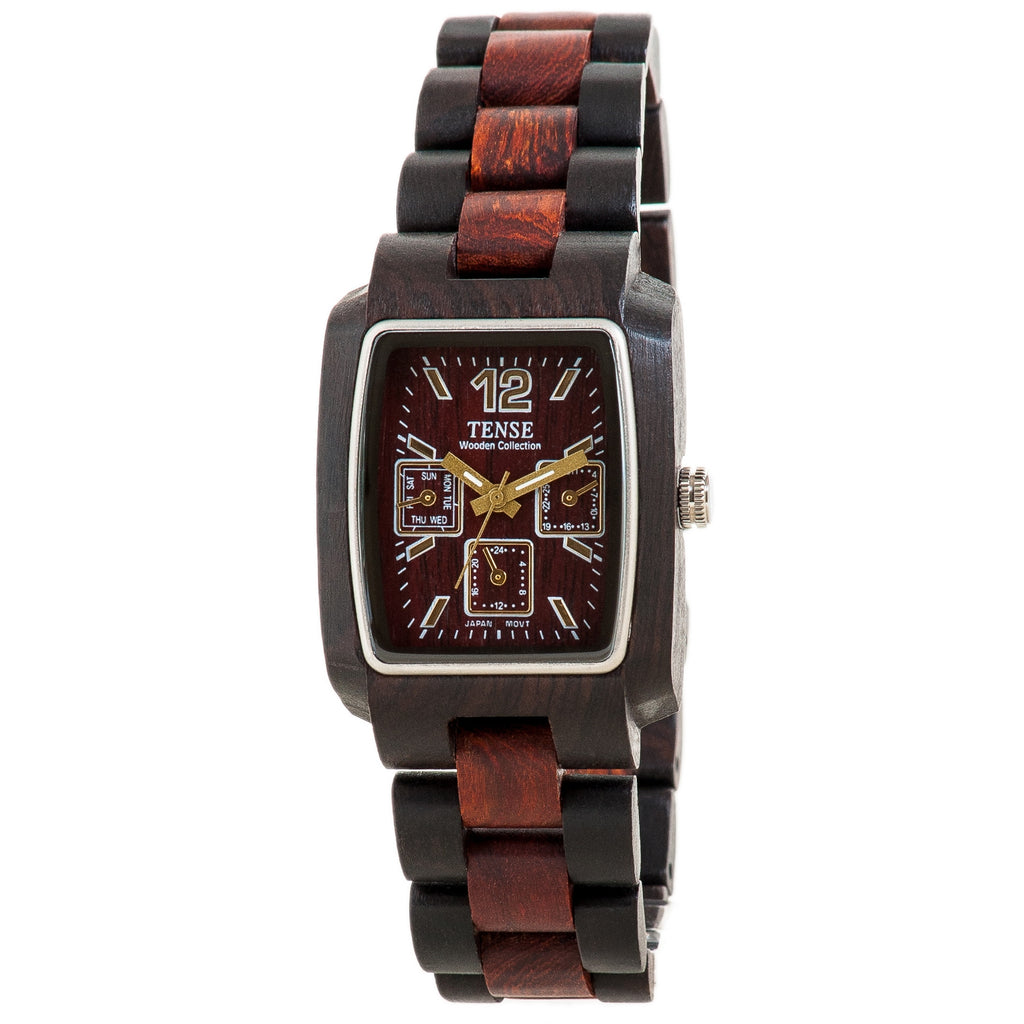 Tense 3 Window Time - Day - Month Dial All Sandalwood Wood Watch J8302DS ANDF - ArtsiHome