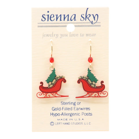 Sienna Sky Red Christmas Sleigh With Tree & Gifts Earrings - ArtsiHome