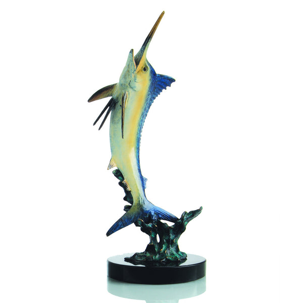 Excited Blue Marlin Brass and Marble Sculpture - ArtsiHome