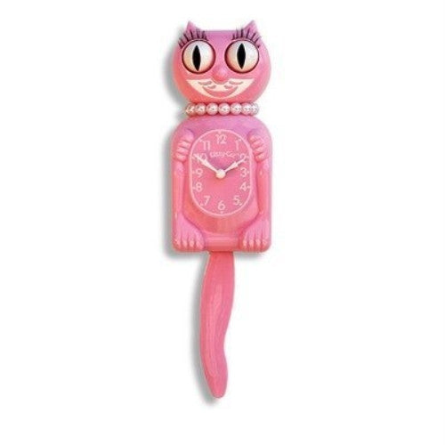 Limited Edition Pink Miss Kitty-Cat Clock w/ Wagging Tail - ArtsiHome