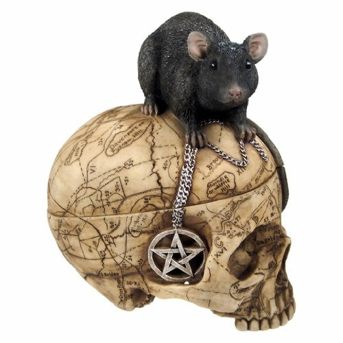 Salem Witch Witchcraft Skull with Pentagram Pentacle Mouse Jewelry Tri