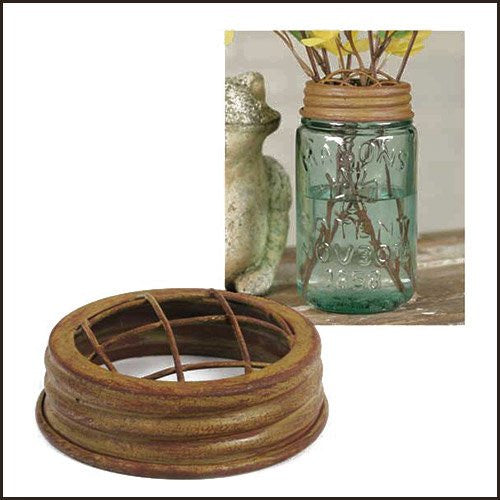 Mason Jar Flower Frog Lid Antique Mustard Finish - ArtsiHome
