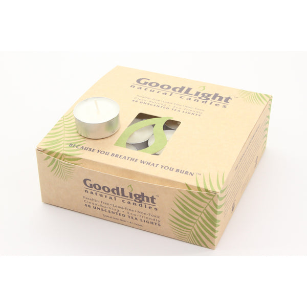 GoodLight Natural Tea Light Candles (48 Count) with Five Hour Burn Time and Non-Toxic Wax - ArtsiHome