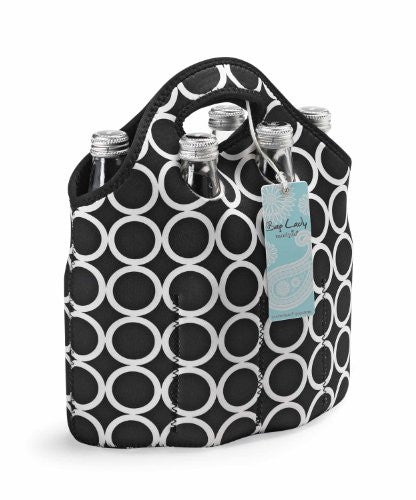 Mud Pie Black Ring Around 6-Pack Carrier [Kitchen] - ArtsiHome