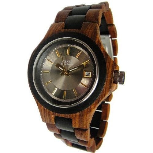 Tense Maple Wood Two Tone Sandalwood Mens Watch G4302SD Silver/Gold - ArtsiHome - Tense