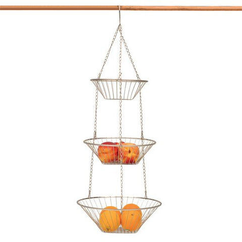 3-Tier Hanging Baskets – Nickel Wire - ArtsiHome