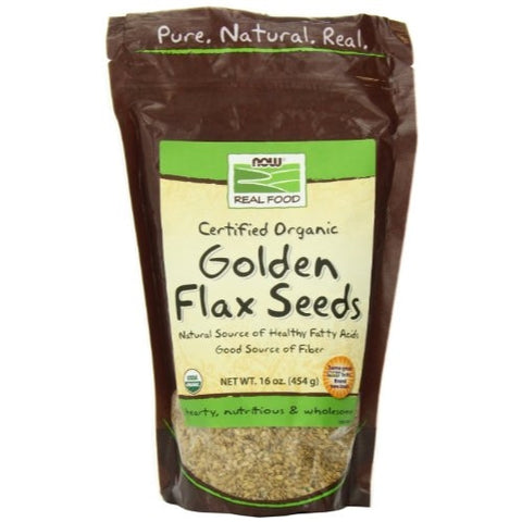 Now Foods Certified Organic Golden Flax Seeds, 16 ozs Bag,  (Pack of 2) - ArtsiHome