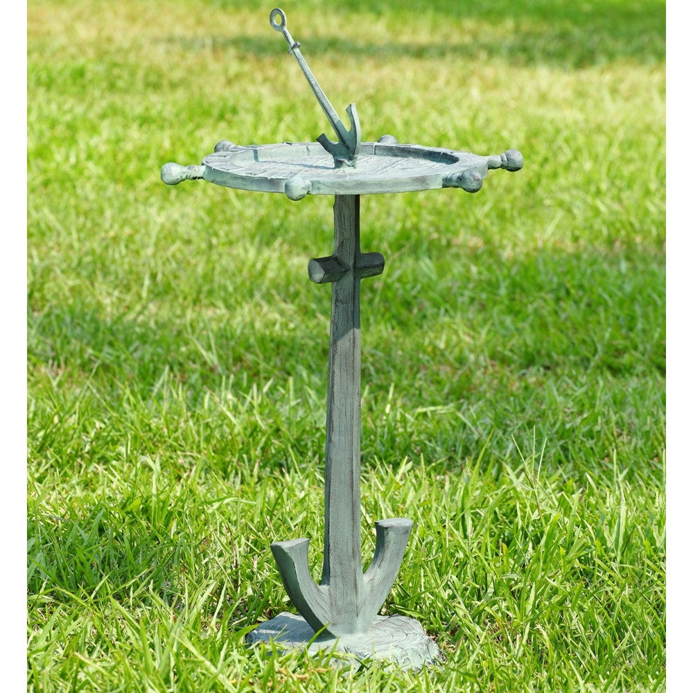 SPI Garden Collection Ship's Wheel and Anchor Birdbath - ArtsiHome