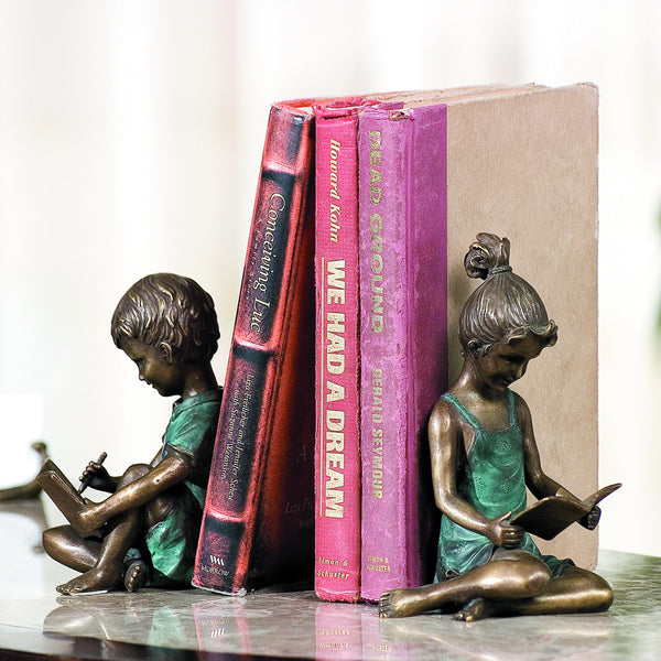 SPI Bronze and Brass Boy and Girl Bookends - ArtsiHome