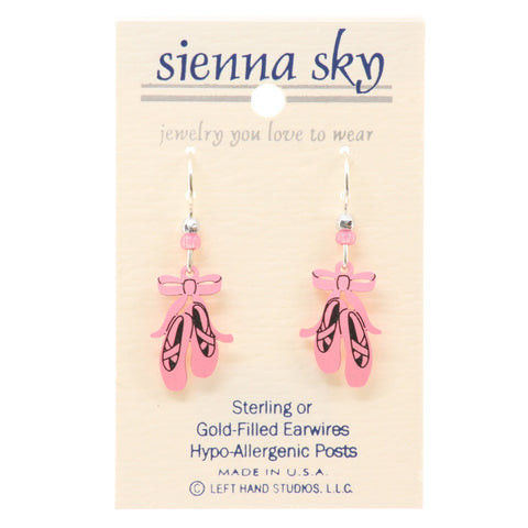Sienna Sky Pink Ballet Slippers/Toe Shoes Earrings - ArtsiHome