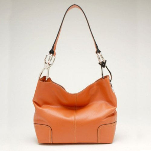 New Tosca Handbag, Purse Bucket Style Shoulder Bag Leather Look, 640 Color Light Orange - ArtsiHome