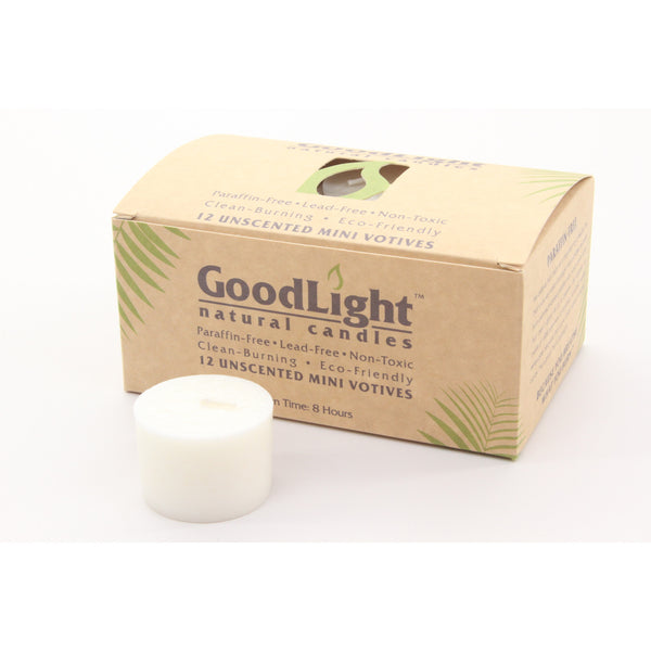 Good Light All Natural White Mini Votive Candles (12 Count) Non-Toxic Palm Wax and Cotton Wick - ArtsiHome