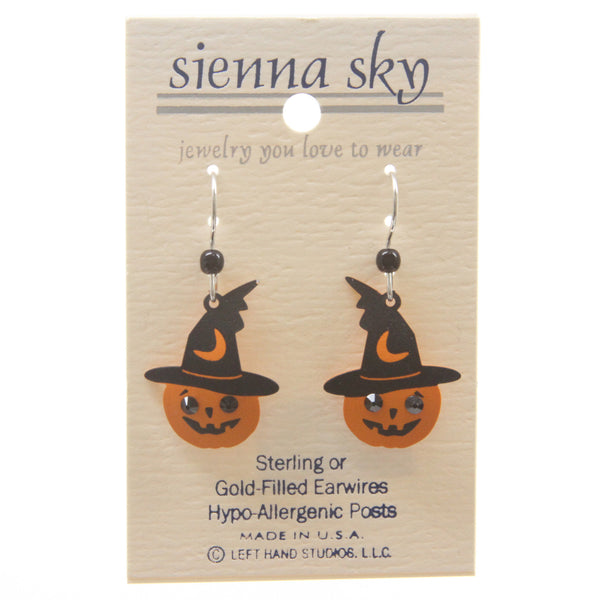 Sienna Sky Halloween Pumpkin W/Witch Hat & Rhinestone Eyes Earrings - ArtsiHome