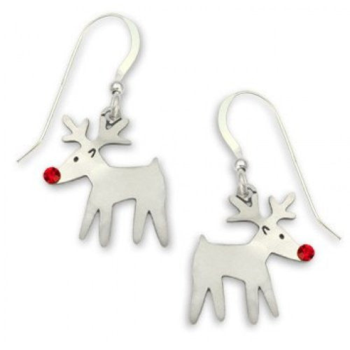 Sienna Sky Rudolph Reindeer with Red Crystal Nose Dangle Earrings - ArtsiHome - Sienna Sky