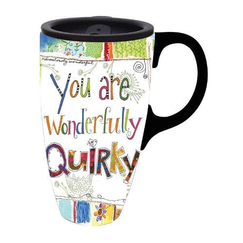 Wonderfully Quirky Latte Travel Mug (17 oz) - ArtsiHome - Evergreen Enterprises