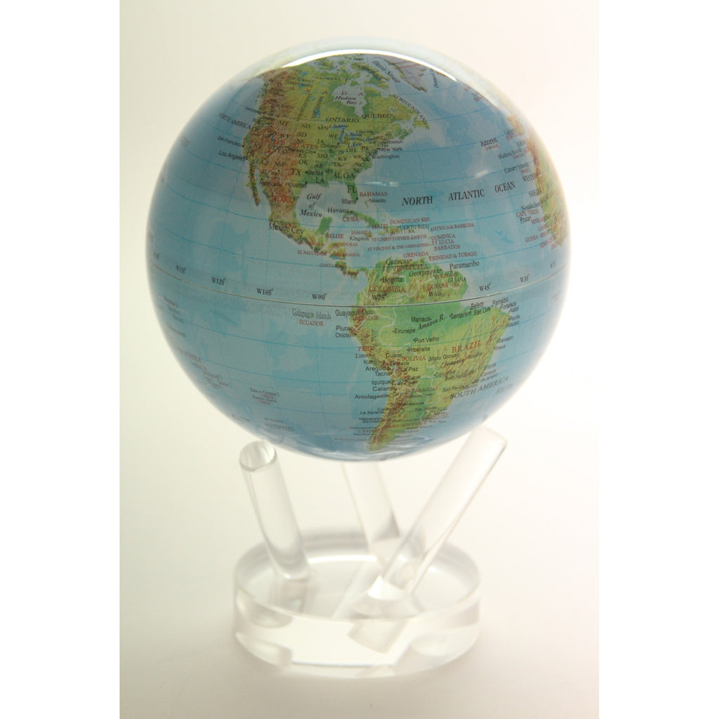 Mova Rotating Blue with Relief Map 6 in. diam. Globe - ArtsiHome