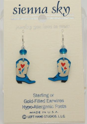 Sienna Sky Blue Cowgirl Boots W/Red Hearts Earrings - ArtsiHome