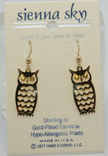 Sienna Sky Earrings Dangle Gold Owl Jewel Eyes Eye - ArtsiHome