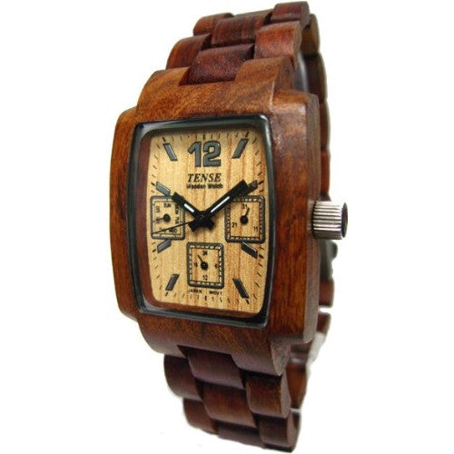 Tense 3 Multi Eye Hypoallergenic Mens Watch Sandalwood Wood J8302S - ArtsiHome