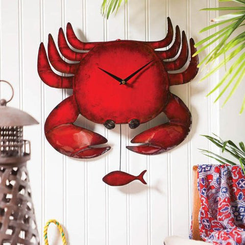 Evergreen Metal Red Crab Wall Clock - ArtsiHome
