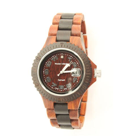 Tense Men's Compass Watch (Light/Dark Sandalwood) - ArtsiHome