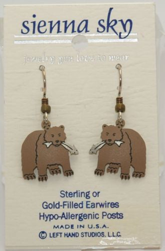 Sienna Sky Bear W/Fish Earrings - ArtsiHome