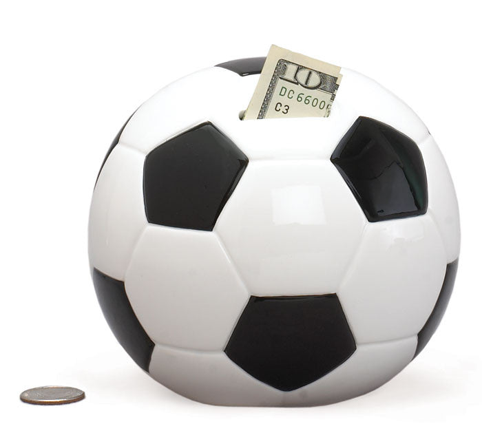 Ceramic Soccer Ball Piggy Bank by Burton and Burton - ArtsiHome