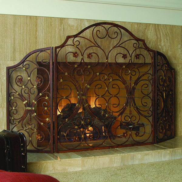 Provincial Fireplace Screen Tr - ArtsiHome