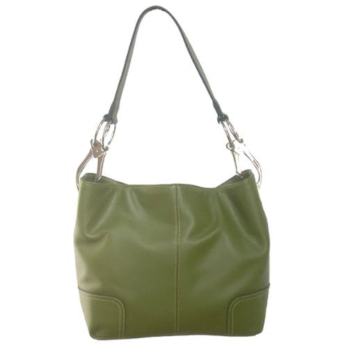 New Tosca Handbag, Purse Bucket Style Shoulder Bag Leather Look, 640 Color Dark Olive Green - ArtsiHome