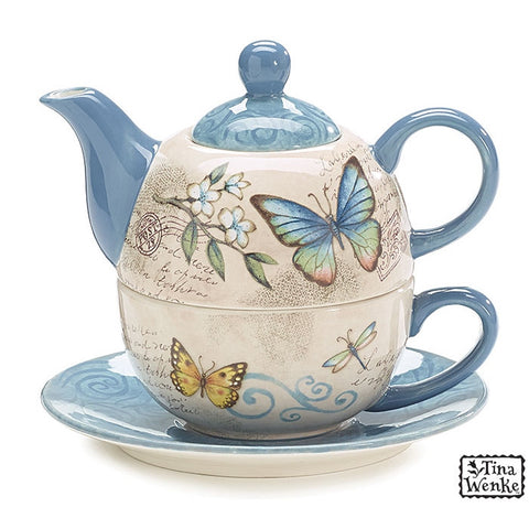 Butterfly Garden Duo Teapot with Teapot,Teacup and Saucer - ArtsiHome