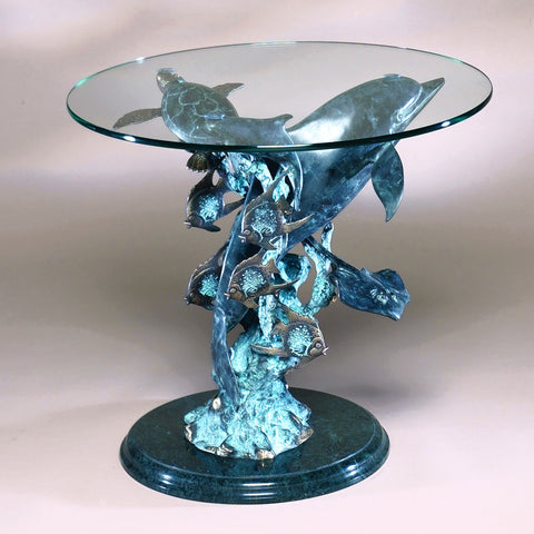 Dolphin Seaworld Glass and Brass End Table - ArtsiHome