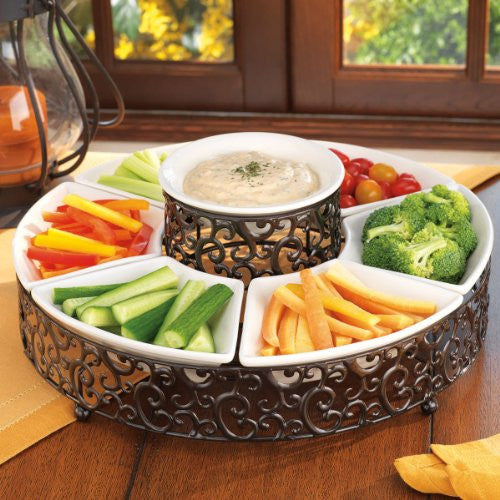 Elegant Chip And Dip Serving Set Ceramic And Pressed Metal - ArtsiHome