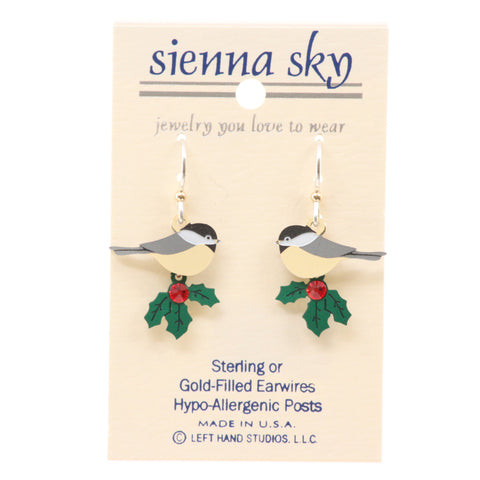 Sienna Sky Christmas Chickadee Perched On Holly W/Red Stone Earrings - ArtsiHome