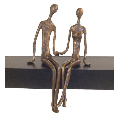 Sitting Couple Sculpture - Cast Bronze - ArtsiHome