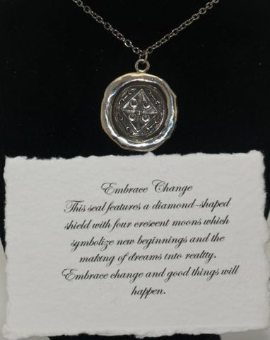 Pyrrha  Sterling Silver Talisman Wax Seal Necklace - ArtsiHome