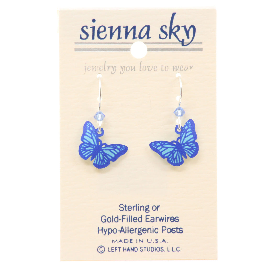 Sienna Sky Blue On Blue Butterfly Earrings - ArtsiHome